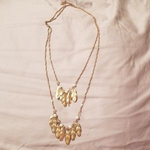 Multi-strand gold feather necklace with pearls